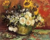 Roses and sunflowers 1886