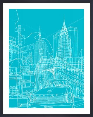 New york blueprint graphic illustrations framed art prints new york blueprint malvernweather Image collections